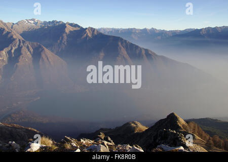View from Monte Berlinghera, valleys of Mera and Adda,  December without snow, near Gera Lario on Lake Como, Italy - Stock Photo