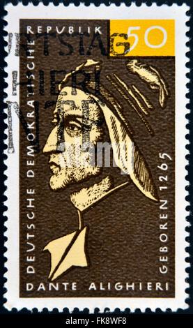 GERMANY - CIRCA 1979: a stamp printed in Germany shows Dante Alighieri, Italian Poet, circa 1979 - Stock Photo