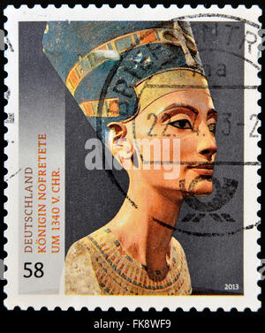 GERMANY - CIRCA 2013: A stamp printed in Germany shows the queen of the Egypt Nefertiti, circa 2013 - Stock Photo