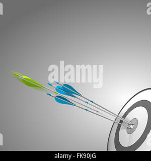 Target with three blue arrows hitting the center, plus a green arrow about to hit the bulleye. image over grey background - Stock Photo