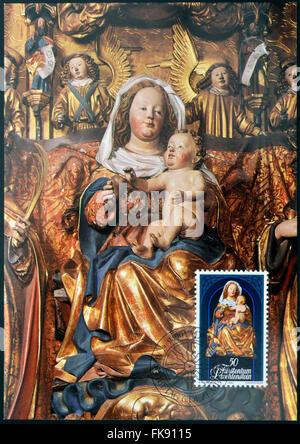 LIECHTENSTEIN - CIRCA 1982: A stamp printed in Liechtenstein dedicated to Sculptures from Chur Cathedral shows Madonna - Stock Photo