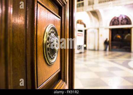 Detail of the entrance door of the Light Station which houses the Museum of the Portuguese Language - Stock Photo