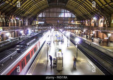 Boarding platform at the Light railway - railway multimodal season - metro-railway - Stock Photo