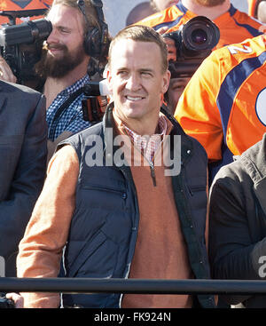 File. 7th Mar, 2016. PEYTON MANNING made an emotional farewell after 18 years to the NFL, a day after the iconic - Stock Photo