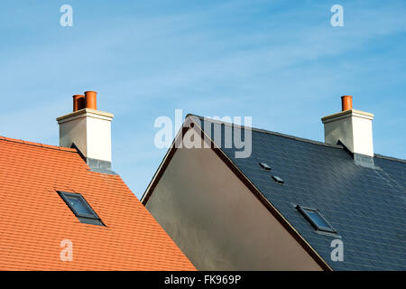 New house building roof abstract. Bicester, Oxfordshire, England - Stock Photo