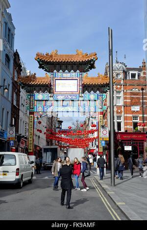 Chinese gate on Wardour street central London UK - Stock Photo