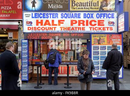 Theatre ticket kiosk in Leicester square West End London - Stock Photo