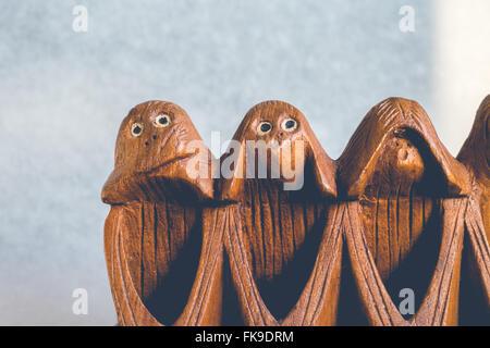 Three monkeys hear, see and speak no evil - Stock Photo