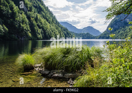3 Lakes Tour: Lake Grundlsee, Lake Toplitzsee. Is there really gold from World War Two hidden in Lake Toplitzsee? - Stock Photo