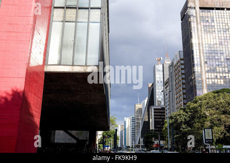 Detail of buildings and MASP Museum of Art Sao Paulo Assis Chateaubriand at Avenida Paulista
