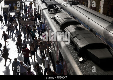 Boarding platform at the Station of the Light - frost multimodal railway - metro-railway - Stock Photo