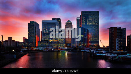 Canary Wharf, London, UK. 07th Mar, 2016. The landscape of city sunset in Canary Wharf,  London, UK on 7th March - Stock Photo