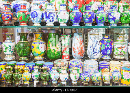 cloisonne jars and vases in a shopping mall, Beijing, China - Stock Photo