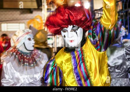 Revelers in carnival mask - Stock Photo