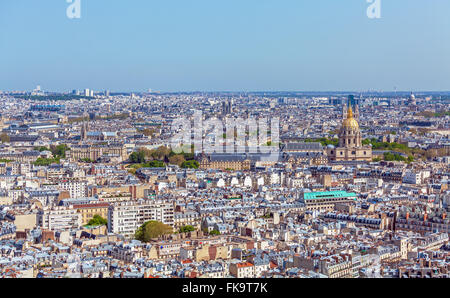 The National Residence of the Invalids - aerial view from Eiffel Tower, Paris, France - Stock Photo