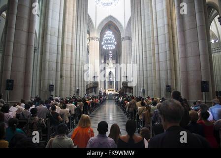 Mass at the Sao Paulo Metropolitan Cathedral - Catedral da Se - Stock Photo