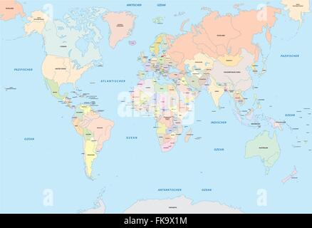 World map in german language stock vector art illustration vector world map in german language stock photo gumiabroncs Image collections