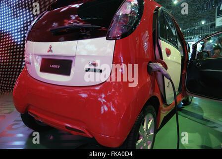 Mitsubishi i miev electric car at a charging station stock for Garage mitsubishi paris