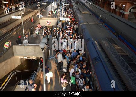 Season of Light in the Luz neighborhood - season multimodal railway - metro-railway - Stock Photo