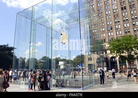 Apple store on Fifth Avenue - Fifth Avenue or 5th Avenue - Manhattan - Stock Photo