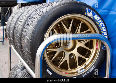 Tires on a rack - Stock Photo