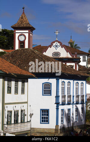 Forum of the city and tower of Igreja Sao Francisco de Assis in the background Stock Photo
