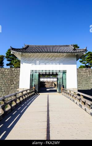 Bridge and gateway over the inner moat to the Honmaru Palace, Nijo Castle, Kyoto, Kansai, Japan - Stock Photo