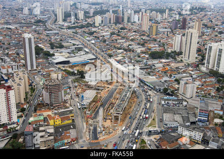 Aerial view of the construction work of the railway Vila Prudente monorail Line 15 - Silver - Stock Photo