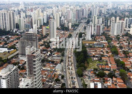 Aerial view of the construction work of the monorail line on the Avenue 17 Gold Journalist Roberto Marinho - Stock Photo