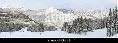 A panoramic view of a ski run at Purgatory Ski Resort, with the Needles mountains in the San Juan National Forest - Stock Photo
