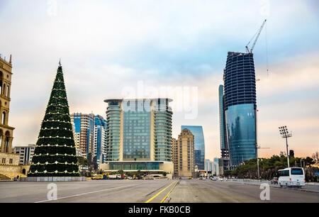 Azadliq Square of Baku, the biggest city-centre square in Azerbaijan - Stock Photo