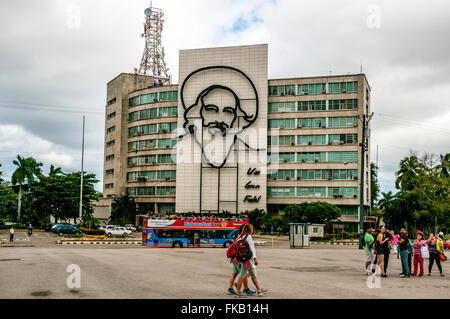 Cuba, Havana, Revolution square Ministry of Communications building - Stock Photo