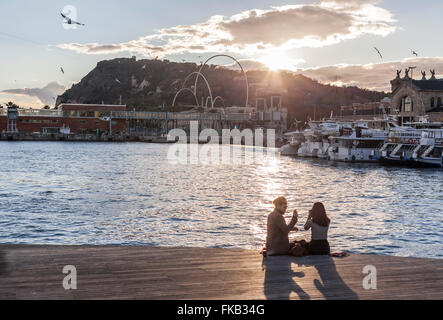 Port Vell view at sunset, Barcelona. - Stock Photo