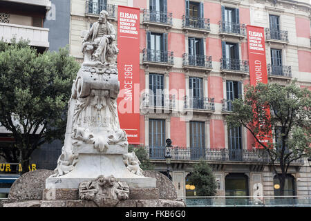 Monument to 'Pitarra'. La Rambla, Barcelona. - Stock Photo