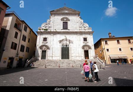 Cathedral of Santa Maria Assunta, Piazza della Libertà, Orte, Lazio, Italy - Stock Photo
