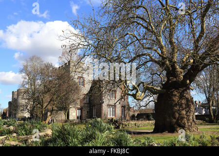 Tower House and West Gate in Canterbury, Kent, England - Stock Photo