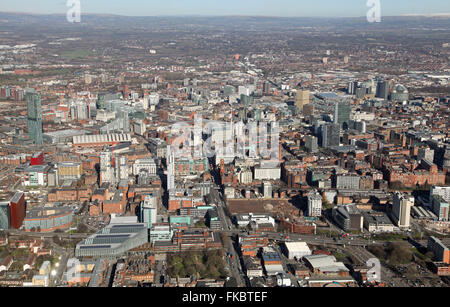 aerial view of the Manchester city centre skyline looking north, UK - Stock Photo