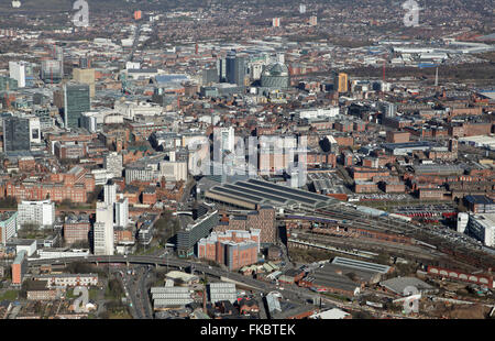 aerial view of the Manchester city centre skyline looking north across Piccadilly Station, UK - Stock Photo