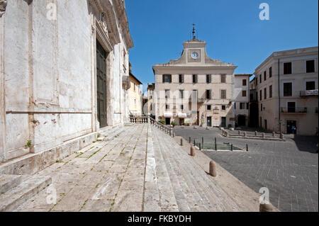 Orte, piazza della Libertà, on the left the Cathedral and in the background Palazzo dell'Orologio (Clock Palace), - Stock Photo