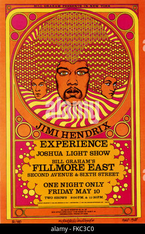 1980s USA Jimi Hendrix Poster - Stock Photo
