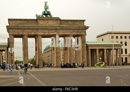 Germany-Berlin,May 2016.View of the Brandenburg Gate,18th-century neoclassical triumphal arch in Berlin, and one - Stock Photo