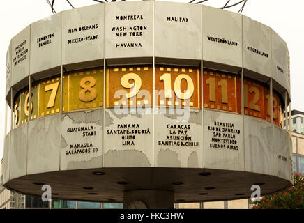 Germany-Berlin, in 2016. View of a world clock on the Alexanderplatz in Berlin. Editorial.Horizontal view. - Stock Photo