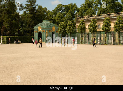 Germany-Potsdam,May 2016.Tourists walking in the rear courtyard of the royal palace near the stairs leading to the - Stock Photo