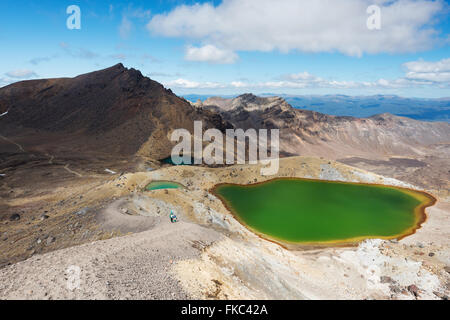 Emerald Lakes, scenic view from the top of Tongariro Alpine Crossing, New Zealand - Stock Photo