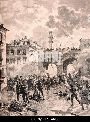 Italian Risorgimento The Five Days of Milan, assault on the Porta Nuova arches, March 21,1848 - Stock Photo