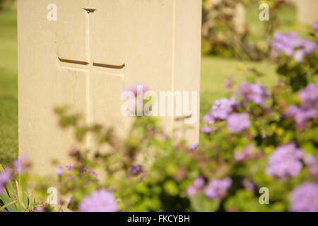 Cross on headstone of second world war Allied soldier, Anzio War Cemetery, Italy. - Stock Photo