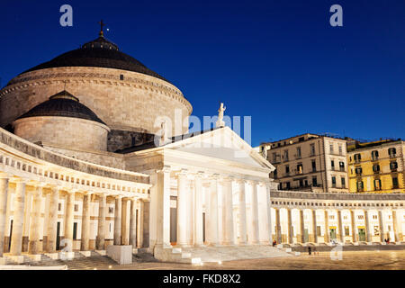 Piazza Plebiscito with San Francesco di Paola Church - Stock Photo