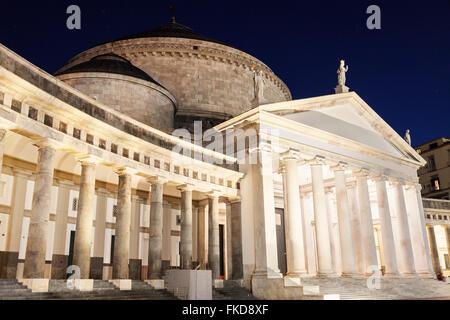 San Francesco di Paola Church on Piazza Plebiscito at night - Stock Photo