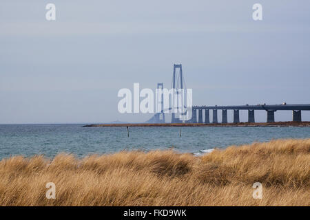 Great belt bridge seen from the Sealand side with grassy coastline in the front - Stock Photo