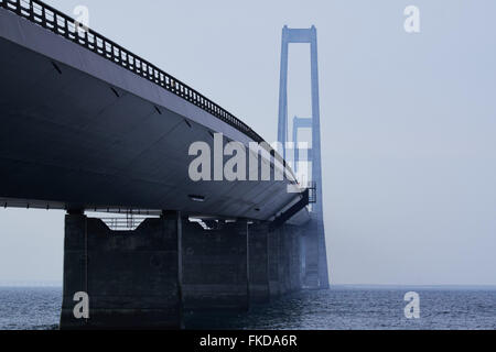 A look a long the north side of the Great belt bridge seen from the Sealand side - Stock Photo